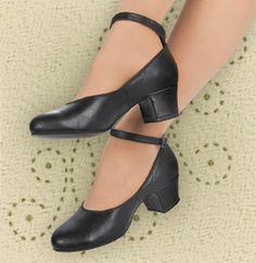 Aris Allen Women's Black 1950s Mid-Heel Character Shoes, dancestore.com - 2