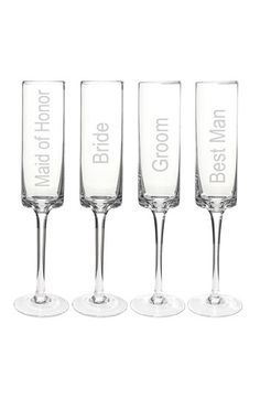 Cathy's Concepts 'Wedding Party' Contemporary Champagne Flutes - White (Set of 4)