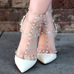 Valentino Crystal Rockstuds Authentic Valentino rockstuds in crystal clear and white! Size 39.5, approx 3 inch heel. These are missing a few studs and have been worn. These are authentic and you don't have to worry about that thanks to the Posh Protect guarantee: https://poshmark.com/posh_protect. Poshmark has your back! 🐾 All proceeds of my Poshmark closet will be donated to my local animal shelter 🐾 Shoes