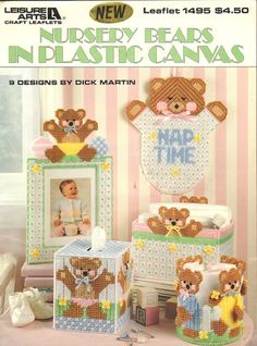 Nursery Bears in Plastic Canvas, 9 Baby Nursery Designs to Create with Plastic Canvas, Leisure Arts Vintage 1993 by OnceUponAnHeirloom on Etsy Plastic Canvas Tissue Boxes, Plastic Canvas Crafts, Plastic Canvas Patterns, Baby Teddy Bear, Teddy Bears, Baby Nursery Sets, Nursery Patterns, Plastic Canvas Christmas, Canvas Designs
