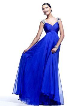 2014 Enchanted Straps Princess Beaded&Ruffled Dark Royal Blue Prom Dresses St005