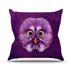 "KESS InHouse Hoot! by Ancello Owl Throw Pillow Size: 20'' H x 20'' W x 1"" D"
