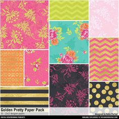 Golden Pretty Paper Pack 12x12 patterned papers available for instant download #designerdigitals