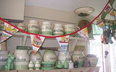 Wonderful cream and green collection! Love the vintage fabric bunting too!
