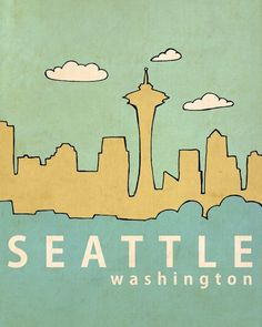 Affordable Fine Art Print - Seattle No. 1 - 8 x 10 Travel City Skyline Architecture Illustration and Typography Print