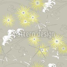 Chrysanthemum and Waves Japanese Style Pattern Design Textile, Web Design, Chrysanthemum, Vector Pattern, Graphic, Surface Design, Pattern Fashion, Illustration, Dandelion