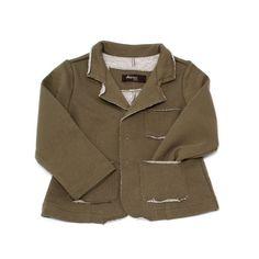 Da 2 a 12 Anni - Giacca da bambino in felpa di cotone garzato. Verde militare - Spedizione Gratuita!
