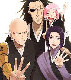 Kusajishi Yachiru, Zaraki Kenpachi, Ayasegawa Yumichika, Madarame Ikaku