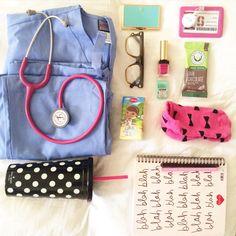 Medical Student essentials: kate spade, shopbando, bows, preppy,warby parker, ysl, docmcstuffins, medical, scrubs, polka dots