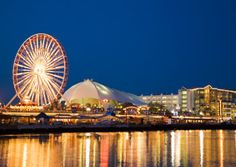 Navy Pier: Chicago, IL: This pier, stretching into Lake Michigan, is packed with all sorts of attractions, including the Chicago Shakespeare Theater (modeled after London's Swan Theatre), Chicago Children's Museum and the 1,500-seat outdoor Skyline Stage.
