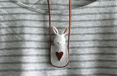 Bunny necklace - Paper clay miniature white rabbit in a bag - Wearable art - made to order Bunny Bags, Clay Fairies, Fox Girl, Recycled Leather, Clay Projects, Clay Crafts, Clay Animals, Kokeshi Dolls, Clay Miniatures