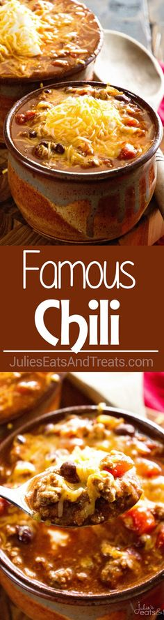 Crock Pot Famous Chili ~ Amazing chili to warm up to on a cold winter's day made in your slow cooker! ~ More homemade and made from scratch recipes from Slow Cooker Chili, Crock Pot Slow Cooker, Slow Cooker Recipes, Crockpot Recipes, Cooking Recipes, Chili Recipes, Hamburger Recipes, Crock Pot Food, Crockpot Dishes