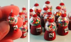 polymer clay gumball machine [Flickr: inediblejewelry] - buy glass globes from miniature dollhouse supply shops and clean the the paint off using nail polish remover, if needed