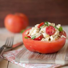 Orzo Caprese In Tomato Cups (although I think this might be a lot of tomato...I think I'd put it in a bell pepper)