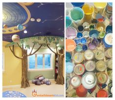 Photos of a homeschool classroom with murals, the solar system, a world map and history depicted. Art by Aaron Christensen Tree Bookcase, Reading Nook Kids, Tree Shapes, School Classroom, Playroom, Embellishments, Homeschool, Shelving Ideas, Studio