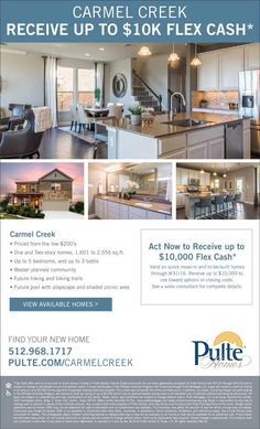 New Homes for Sale in Hutto, Texas  Up to $10K Flex Cash at Carmel Creek thru 8/31!  Purchase to-be-built home by 8/31 |  Convenient access to Downtown Austin  |  Up to 5 bedrooms, and up to 3 baths  http://www.pulte.com/communities/TX/hutto/CarmelCreek/209593/index1.aspx#.V8CP5FPVCM9