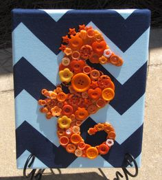 8x10 Orange Button Seahorse Art Picture on Light Blue and Navy Chevron Fabric - pinned by pin4etsy.com