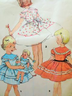 Vintage Simplicity 4914 Sewing Pattern, Childs Dress Pattern, 1950s Dress Pattern, Puffed Sleeves, Full Skirt, Matching Doll Dress, Chest 24