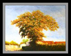 Autumn oak, Le Dorat, France - Acrylic on canvas - 50 x 65 cm by Richard Edwards