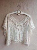 Photo of Beach Boho gypsy crop lace and crochet romantic top - oversized small-1x