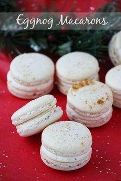 Eggnog macarons are perfectly spiced holiday cookies, with hints of cinnamon, cloves and nutmeg, filled with creamy egg Holiday Cookie Recipes, Holiday Baking, Christmas Baking, Holiday Cookies, Macarons Christmas, Eggnog Cookie Recipe, Christmas Macaron Recipe, Christmas Cookie Boxes, Köstliche Desserts