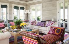 Pretty colors and fun stripes in this living room.