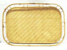 Vintage Bamboo Wicker Tray / 1970's Bamboo Tray by CatzShinySmiles Got two like this!