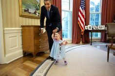 President and one-year-old Lincoln Rose Smith as she learns to walk in the Oval Office.