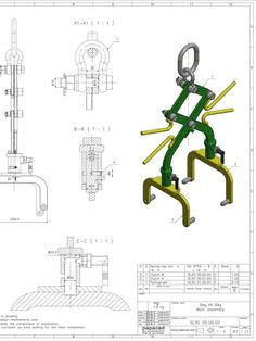 Sling Lift 30kg - 2D CAD drawing Mechanical Engineering Design, Mechanical Design, Autocad, Isometric Drawing Exercises, Solidworks Tutorial, Cad Drawing, Autodesk Inventor, Cad Software, Welding Projects