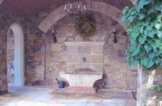 Old fountain made with a double laundry trough from Provence.