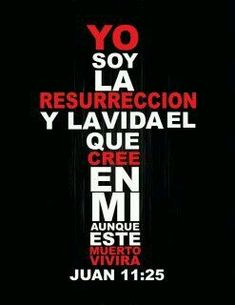 Juan 11:25 Le dijo Jesús: Yo soy la resurrección y la vida; el que cree en mí…