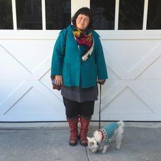 Sunday and no one is looking at the camera, but serendipitously coordinating with your dog instead. From the top: Loom Lab wool scarf; boiled wool jacket (own pattern); very early iteration of #100actsofsewing Dress no. 1; cropped pants (own pattern); and my second-hand Fluevog boots. Willie is wearing his lopapeysa knit by @kaygardiner #handmadewardrobechronicles