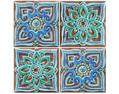 Set of 6 decorative tiles made from ceramic 30 x 30cm - glazed in Turquoise. [This listing has a 10% discount for ordering 6 tiles - they are normally 66€ each].  These unique ceramic tiles make a real statement piece of art and can be used as bathroom or kitchen tiles. Our tiles are suitable for interiors and exteriors and create a stunning visual centrepiece individually or grouped together to make larger installations.  These handmade tiles are carved in deep relief using the highest…