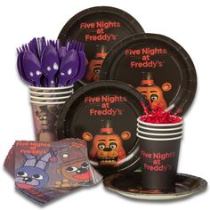Check out Five Nights at Freddy's Standard Tableware Kit (Serves 8) | Five Nights at Freddy's tableware and décor for your next party from Birthday in a Box from Birthday In A Box