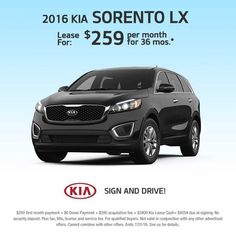 Don't Miss This great Russ Darrow Kia Lease Special On The 2016 Sorento