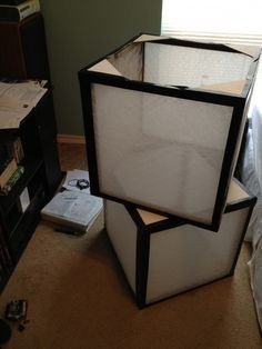 air filters, black duct tape, lighting, super easy!