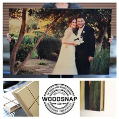 A beautiful wedding photo we WoodSnapped today. This precious moment captured on their special day is given a warm and organic tone with the nature wood grains coming through the photo. It was sprinkling outside but we had to get this photo taken :)..  www.woodsnap.com