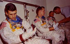 Apollo Space Suit fitting, Apollo 1 prime crew of Chaffee, White & Grissom