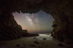 Malibu Sea Cave view of the Milky Way. Malibu, CA Leo Carrillo Beach, Leo Carrillo State Park, Nocturne, Night Photography, Landscape Photography, Space Photography, Cosmos, Malibu, Waterfalls