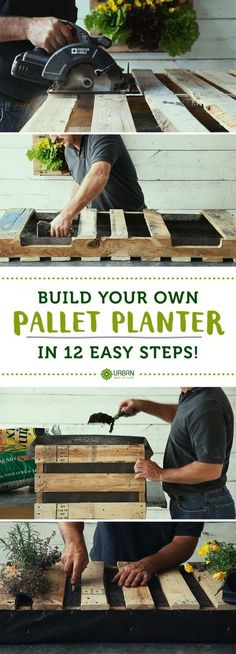 DIY Pallet Planter Box How to build your own pallet planter in 12 easy steps, by Urban Way of Life @ http://urbanwayoflife.com/build-a-pallet-planter/ (Landscape Step How To Build)