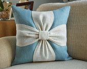Burlap bow pillow cover in aqua blue, white and natural burlap 18x18