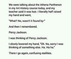 I did this before< i always get percy jackson/HoO mixed up with real facts and its embarrassing. Percy Jackson Head Canon, Percy Jackson Memes, Percy Jackson Books, Percy Jackson Fandom, Apollo Percy Jackson, Rick Riordan Series, Rick Riordan Books, Solangelo, Percabeth