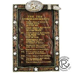 (RWRA6920) Western Ten Commandments Sign with Easel