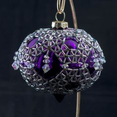 Purple ribbed onion shaped ornament encased in by BeadedChristmas, $65.00
