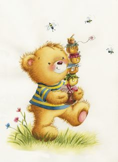 Happy New Year Wishes, Love Bear, Textiles, Whimsical Art, Cute Illustration, Cubs, Illustrators, Greeting Cards, Teddy Bear