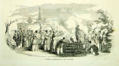 1852 Wood Engraving Art Japanese Funeral Pyre Ceremony Asia Oriental J - Period Paper