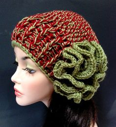 Ladies Fashion winter Hat Crochet Winter Flower Hat by Africancrab, $15.00