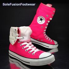 WOMEN'S Converse Nero Rosa Hi High Top Scarpe Da Ginnastica Roll Down UK 6 EU 39