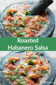 roasted habanero salsa made in a molcajete Habenero Salsa, Salsa De Habaneros, Habanero Recipes, Mexican Salsa Recipes, Fresh Salsa Recipe, Hot Sauce Recipes, Salsa Picante, Molcajete Salsa Recipe, Mexican Food Recipes