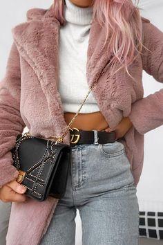 Womens Coat - Rose Faux Fur Coat - Kinleigh